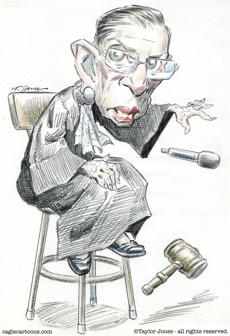 Cartoon Ruth Bader Ginsburg drops a mic and a gavel