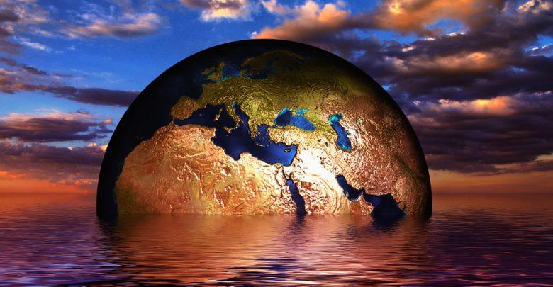 Globe in the ocean