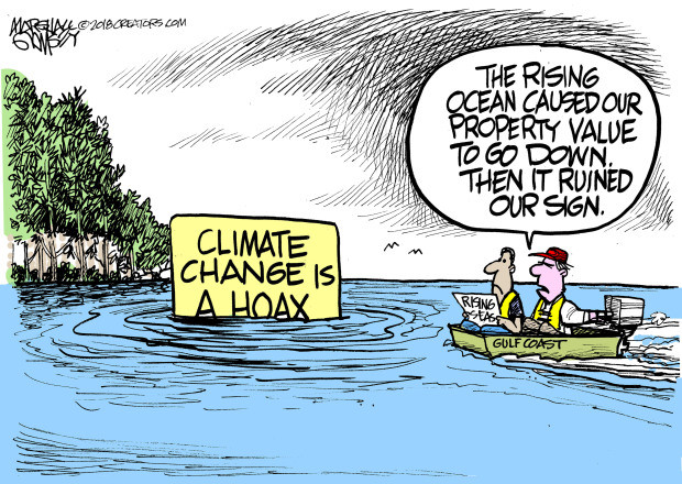 Climate Deniers sign gets ruined due to rising seas