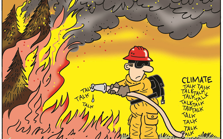 """Cartoon firefighter trying to extinguish forest fire using """"climate talk"""""""