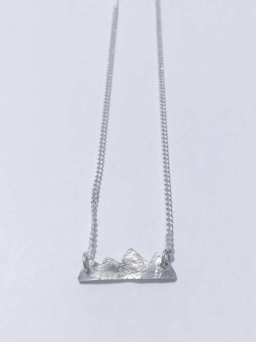Sterling Silver Reticulated Mountain Necklace