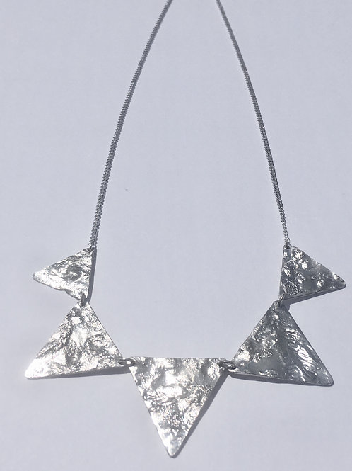 Sterling Silver Reticulated Triangle Necklace