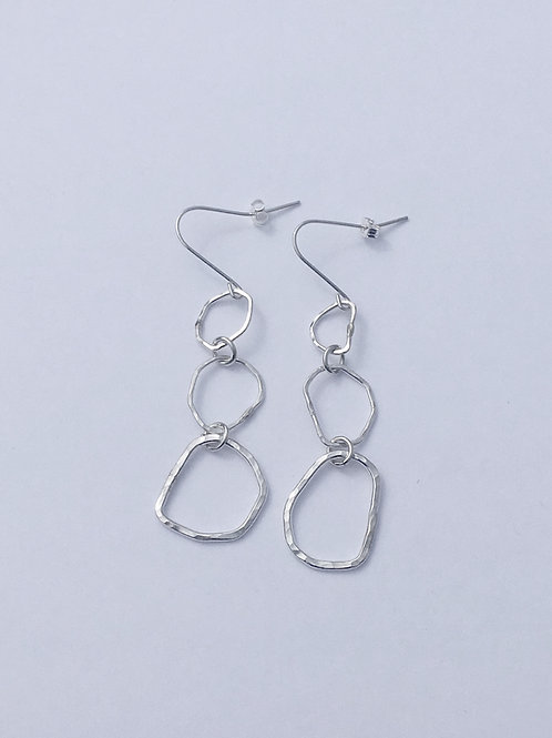 Hammered 3-Ring Sterling Silver Earrings