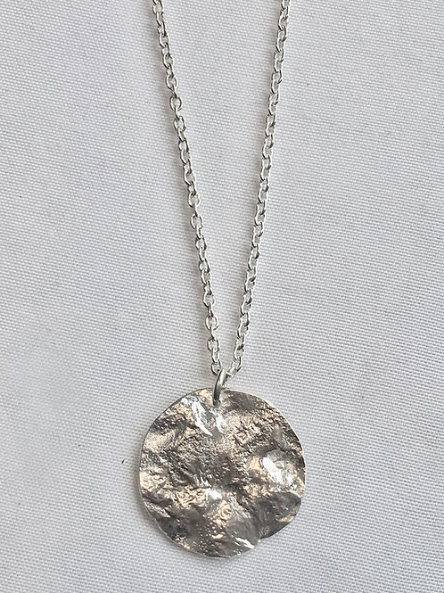 Reticulated Sterling Silver Moon Necklace