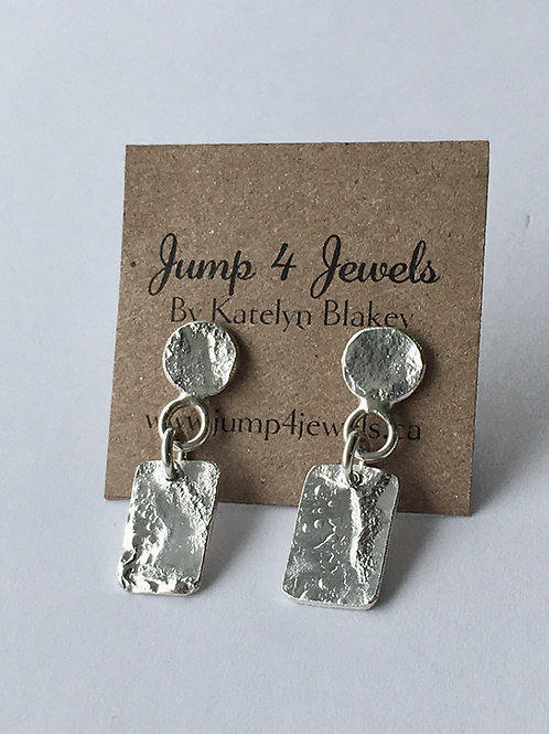 Sterling Silver Dangling Rectangle Studs