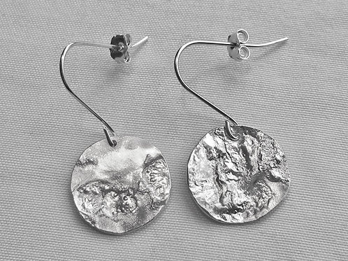 Reticulated Sterling Silver Disc Earrings