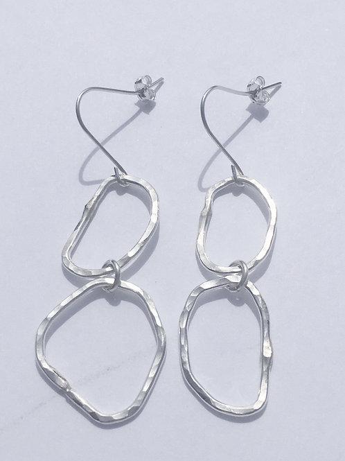 Hammered Sterling Silver Double Loop Earrings