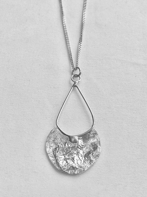 Sterling Silver Teardrop Reticulated Necklace
