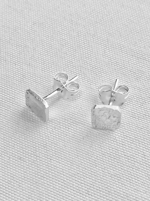 Reticulated Sterling Silver Square Studs