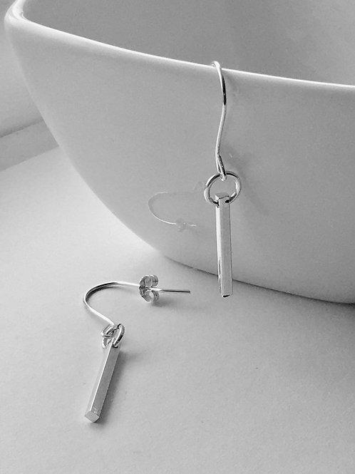 Sterling Silver Dangly Bar Earrings