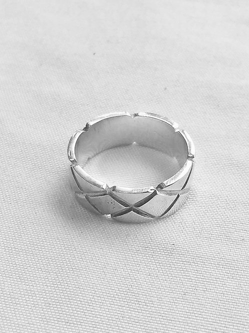 Carved Diamond Shape Sterling Silver Ring