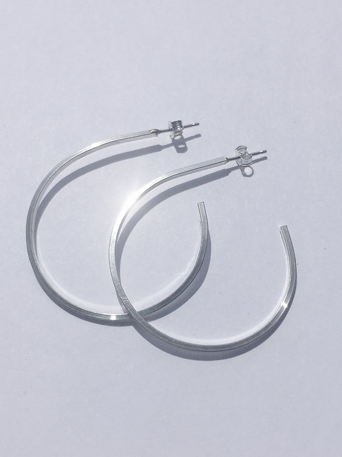 Sterling Silver Open Hoop Earrings-Large