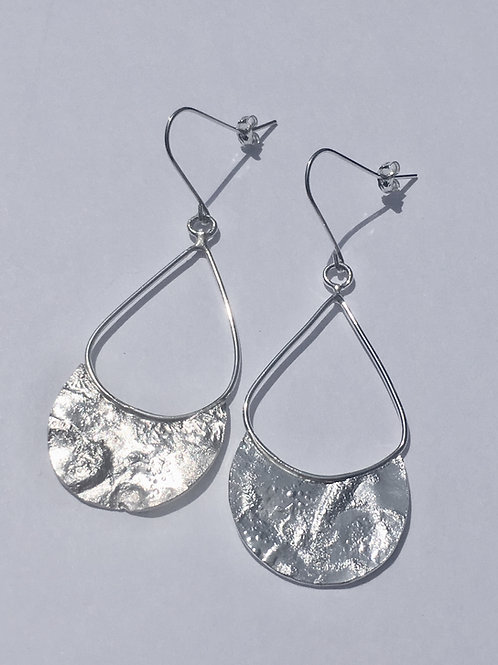 Sterling Silver Teardrop Reticulated Earrings