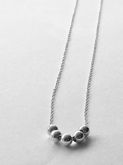 Sterling Silver 5-Ball Necklace