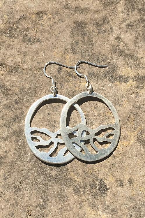 Carved Wavy Sterling Silver Earrings