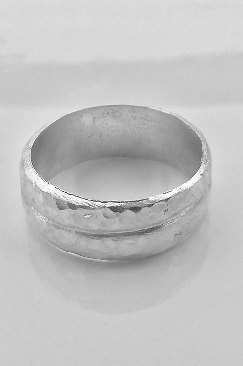 Hammered Sterling Silver Double Ring