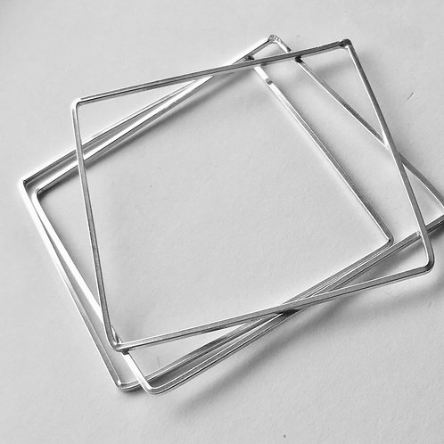 (3) Sterling Silver Square Bangles