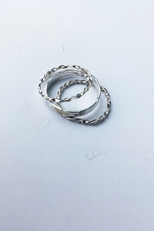 Twisted + Flat Sterling Silver Rings (3)