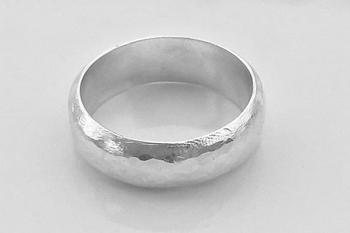 Hammered Sterling Silver Half-Round Ring