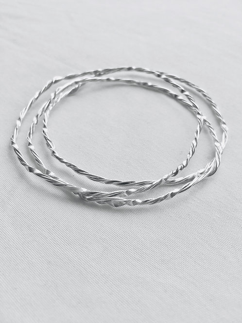 (3) Twisted Sterling Silver Bangles
