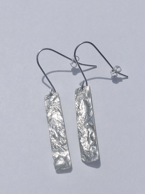 Sterling Silver Reticulated Rectangle Earrings