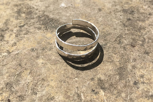 Hammered Double Sterling Silver Ring