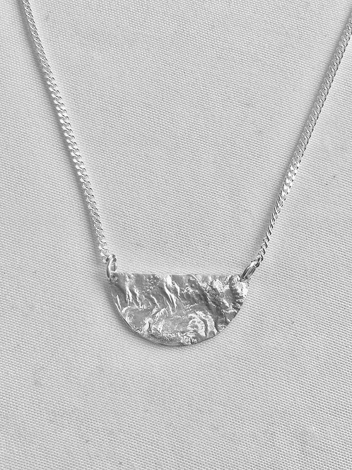 Reticulated Sterling Silver Half-Moon Necklace