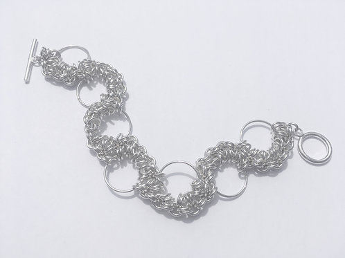 Sterling Silver Chainmaille Flower Bracelet