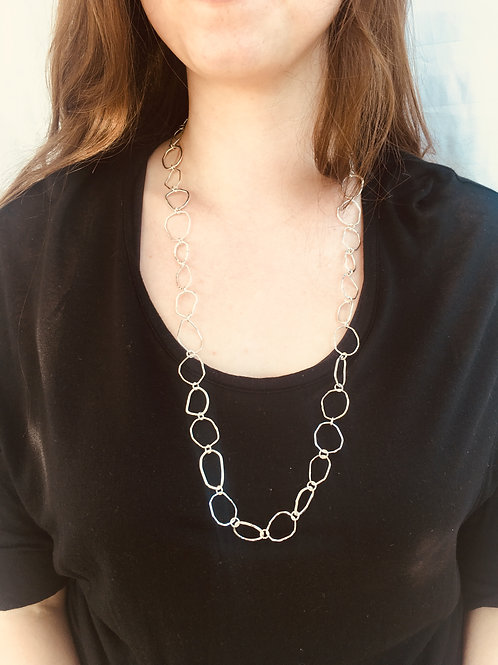 Sterling Silver Full Hammered Ring Necklace