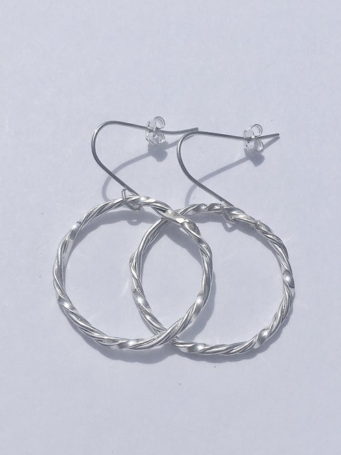 Sterling Silver Twirl Dangle Earrings