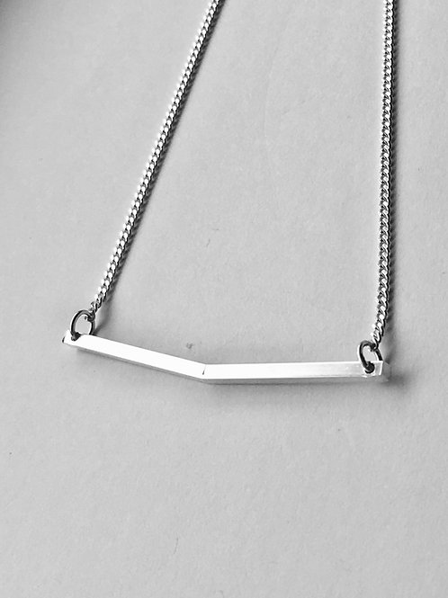 Bent Bar Sterling Silver Necklace
