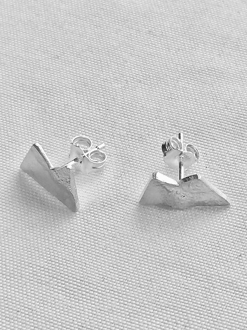Sterling Silver Mountain Studs- Plain or Reticulated