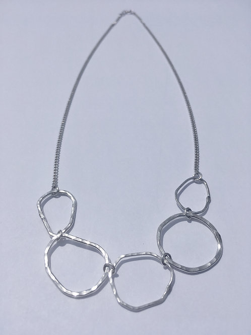 Hammered 5-Ring Sterling Silver Necklace