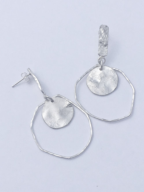 Sterling Silver Reticulated Exclamation Earrings