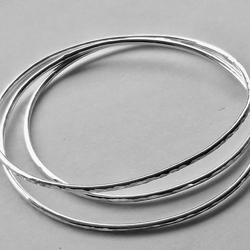 (3) Sterling Silver Hammered Bangles