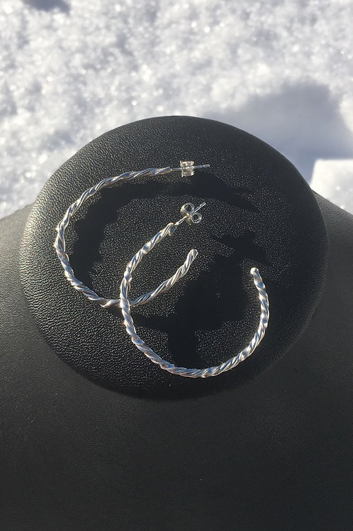 Large Twisted Sterling Silver Hoops