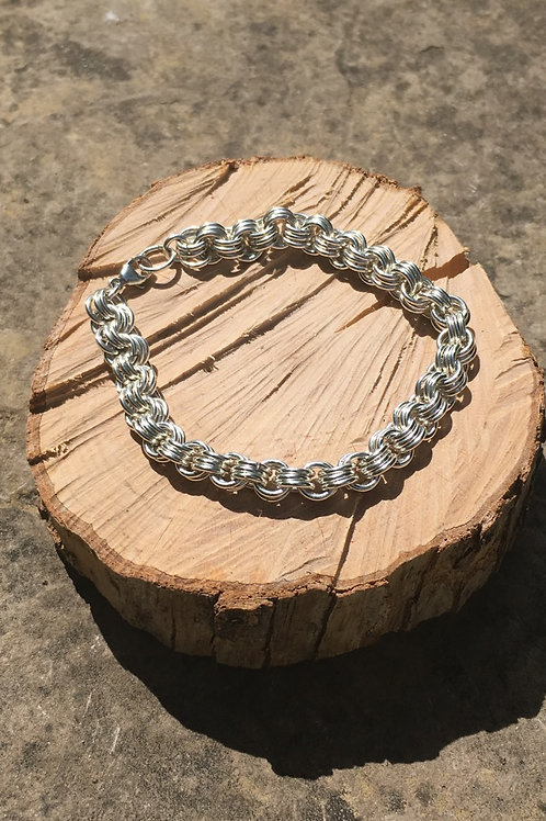 3-Ring Sterling Silver Chainmaille Bracelet