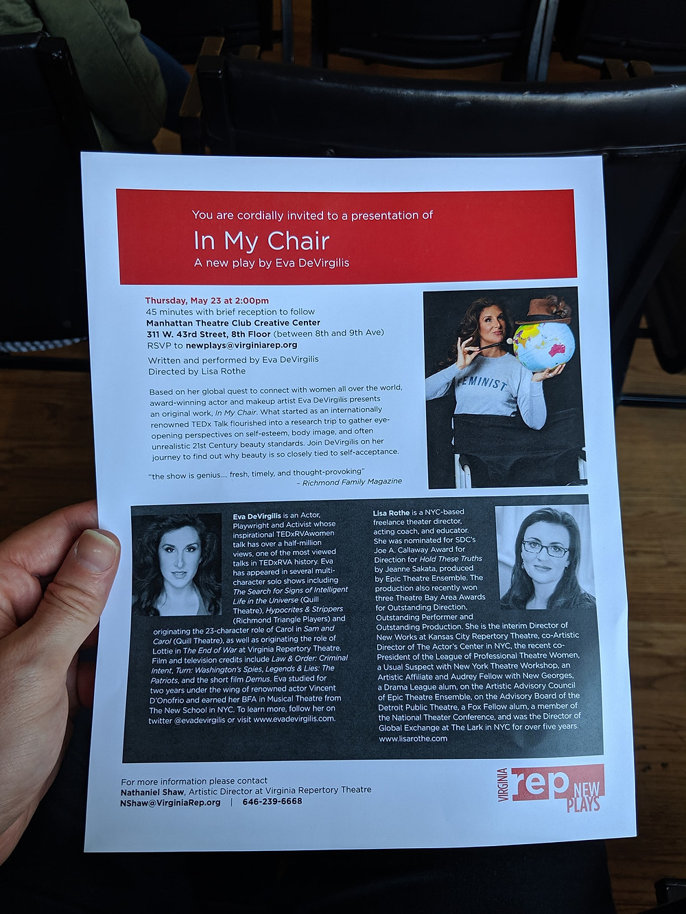 In My Chair written/performed by Eva DeVirgilis directed by Lisa Rothe
