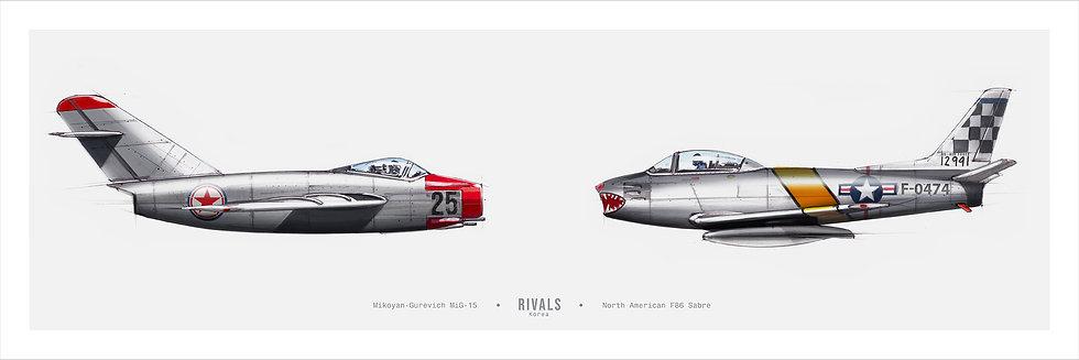 Korean War Warbirds MiG 15 vs F-86 Sabre Illustration Art Print