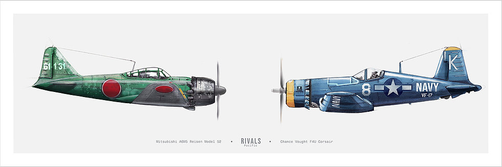 Pacific Warbirds A6M Zero vs F4U Corsair Illustration Art Print