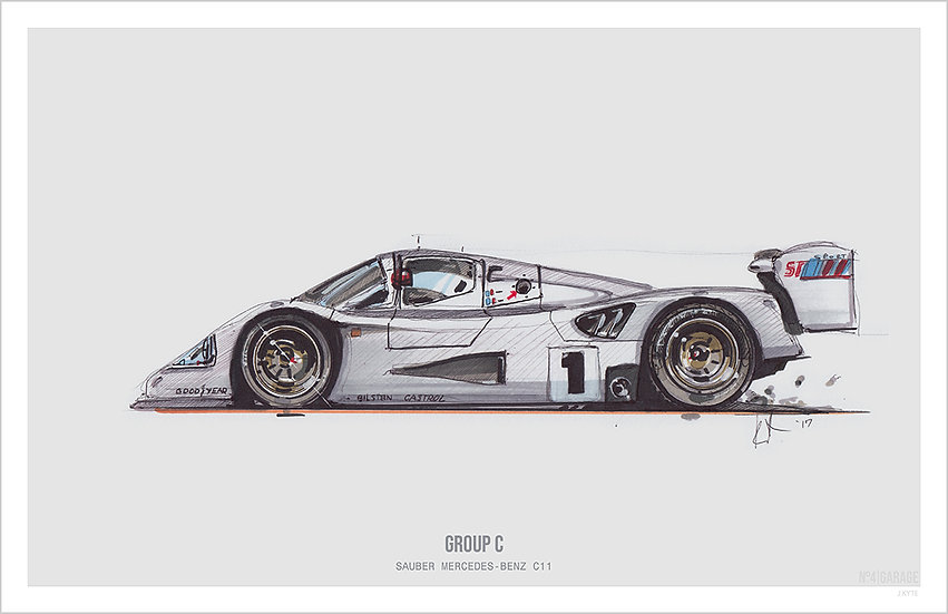 Sauber Mercedes C9 Group C Illustration Art Print