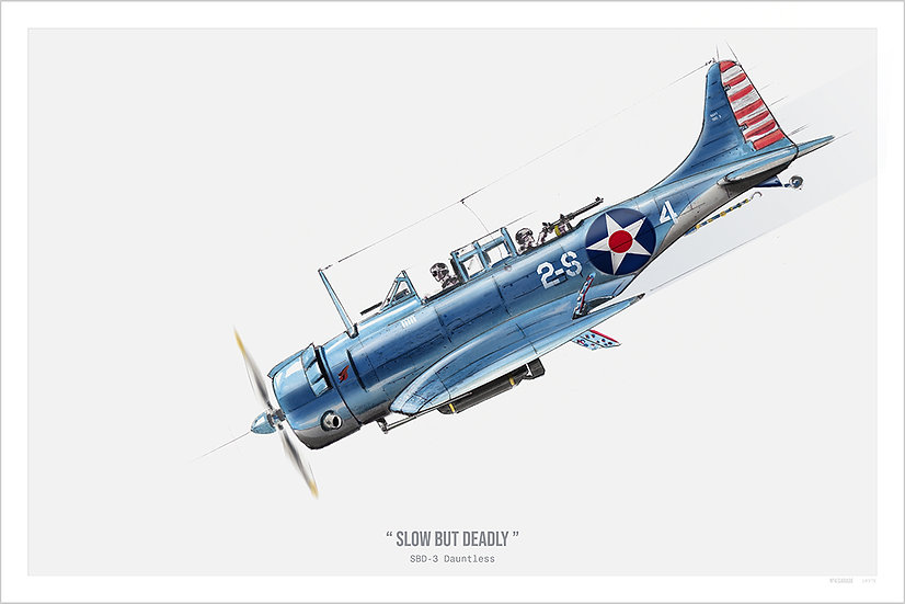 Warbird SBD Dauntless Illustration Art Print