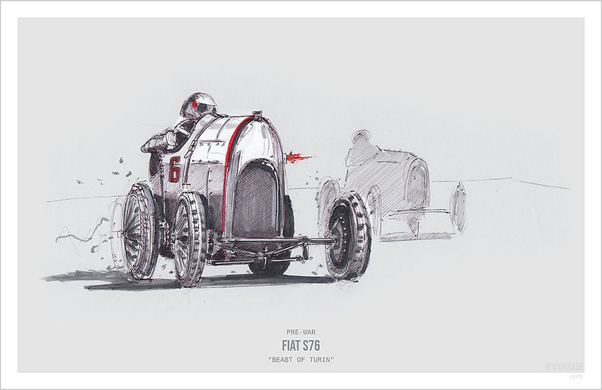 Beast of Turin Fiat S76 Illustration Art Print