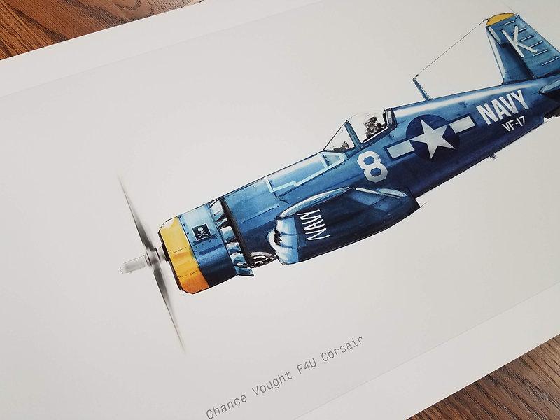 F4U Corsair Illustration Art Print