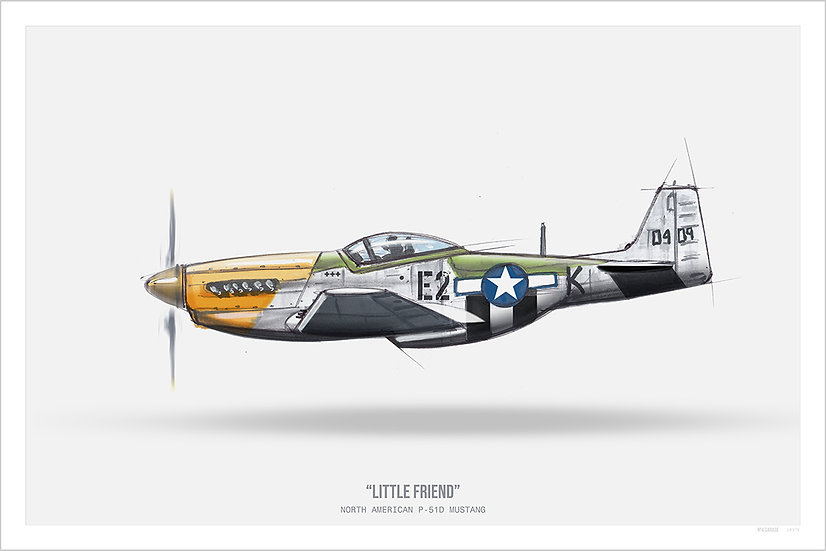 Warbird P-51 Mustang Illustration Art Print