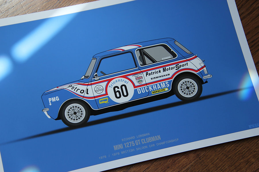 Longman Austin Mini 1275 GT Illustration Print