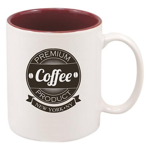 11 oz. White/Maroon Sublimatable Ceramic Mug