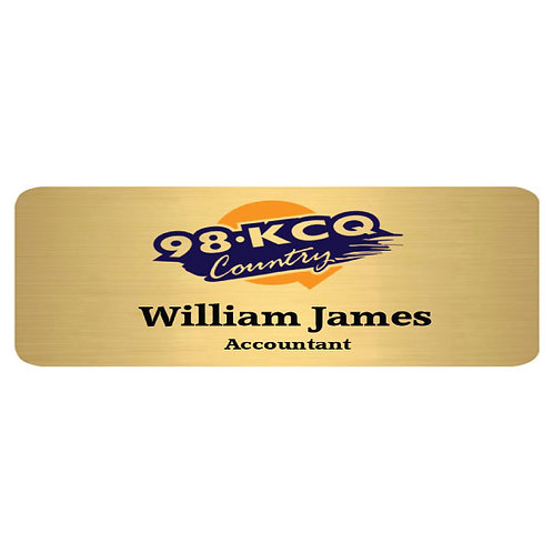 "Brushed Gold Sublimation Aluminum Name Badge 3"" x 1"""