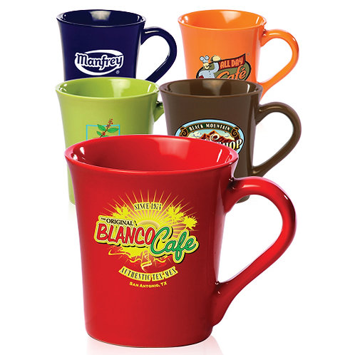 16 oz. Curved Glossy Ceramic Coffee Mugs