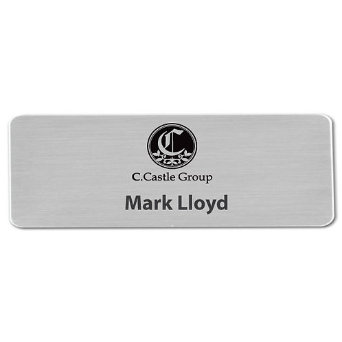 "Brushed Silver Sublimation Aluminum Name Badge 3"" x 1"""